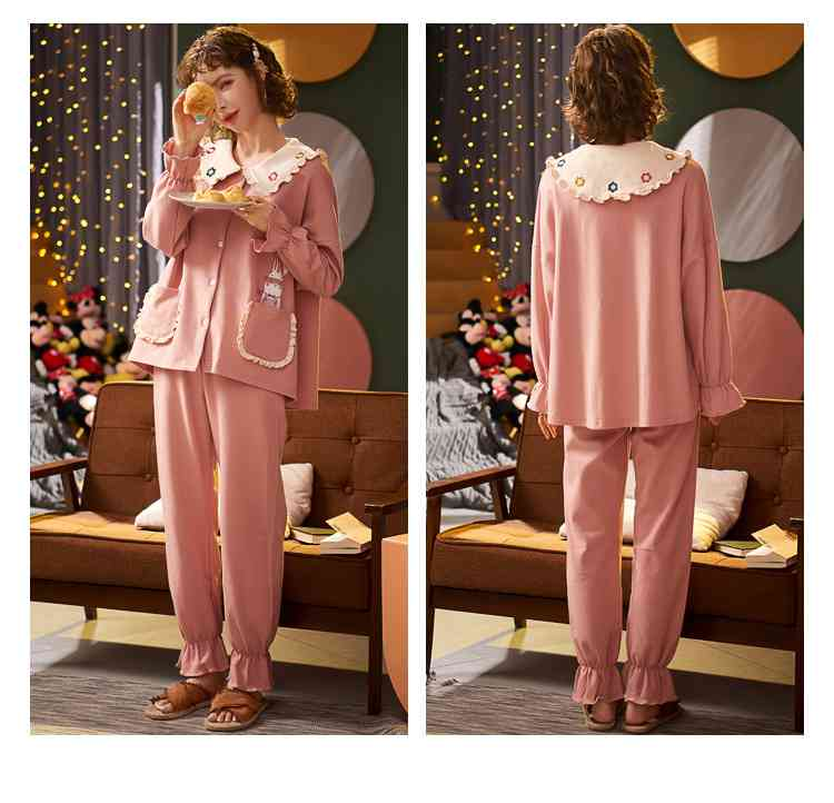 Korean cartoon cute home clothes lapel cardigan sweet mens women pajamas can be worn outside on sale 20
