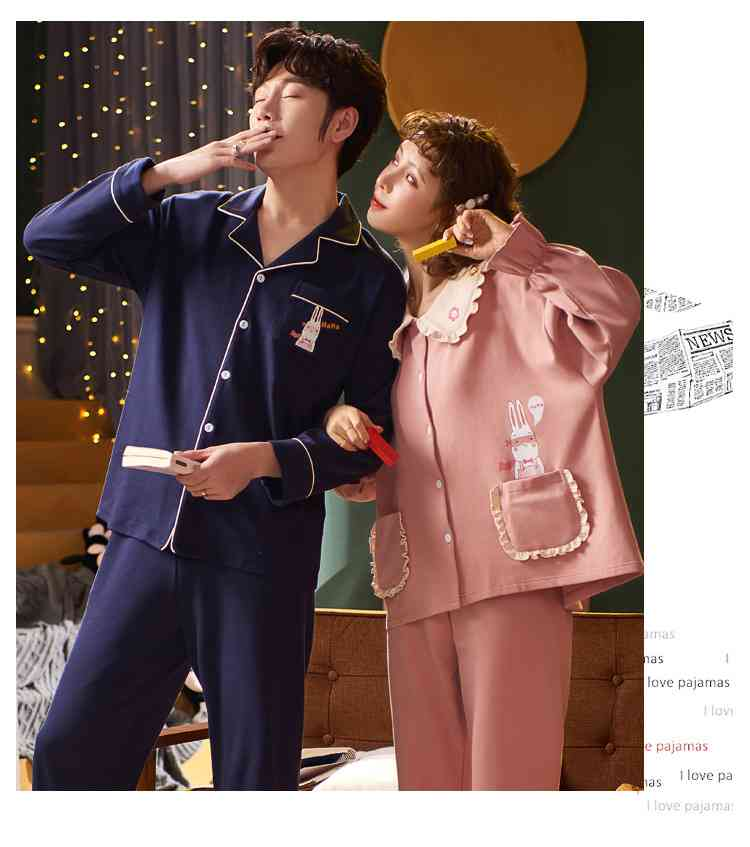 Korean cartoon cute home clothes lapel cardigan sweet mens women pajamas can be worn outside on sale 21