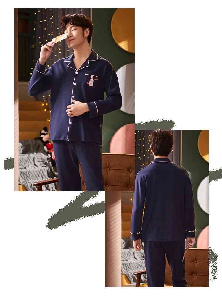 Korean cartoon cute home clothes lapel cardigan sweet mens women pajamas can be worn outside on sale 22