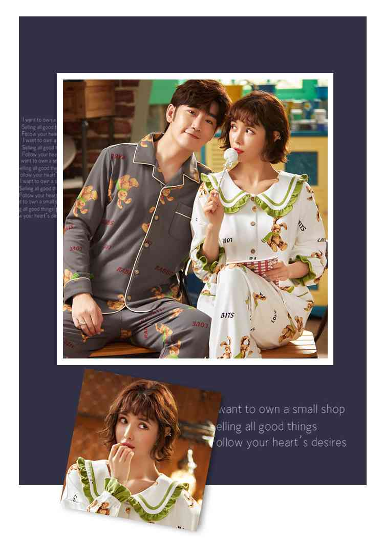 Korean cartoon cute home clothes lapel cardigan sweet mens women pajamas can be worn outside on sale 23