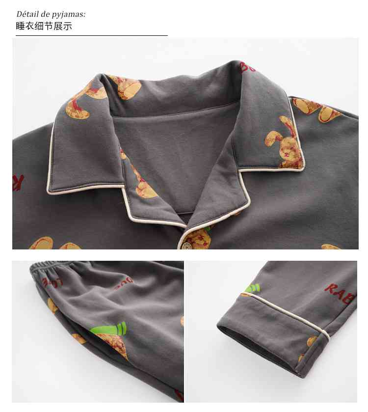 Korean cartoon cute home clothes lapel cardigan sweet mens women pajamas can be worn outside on sale 28