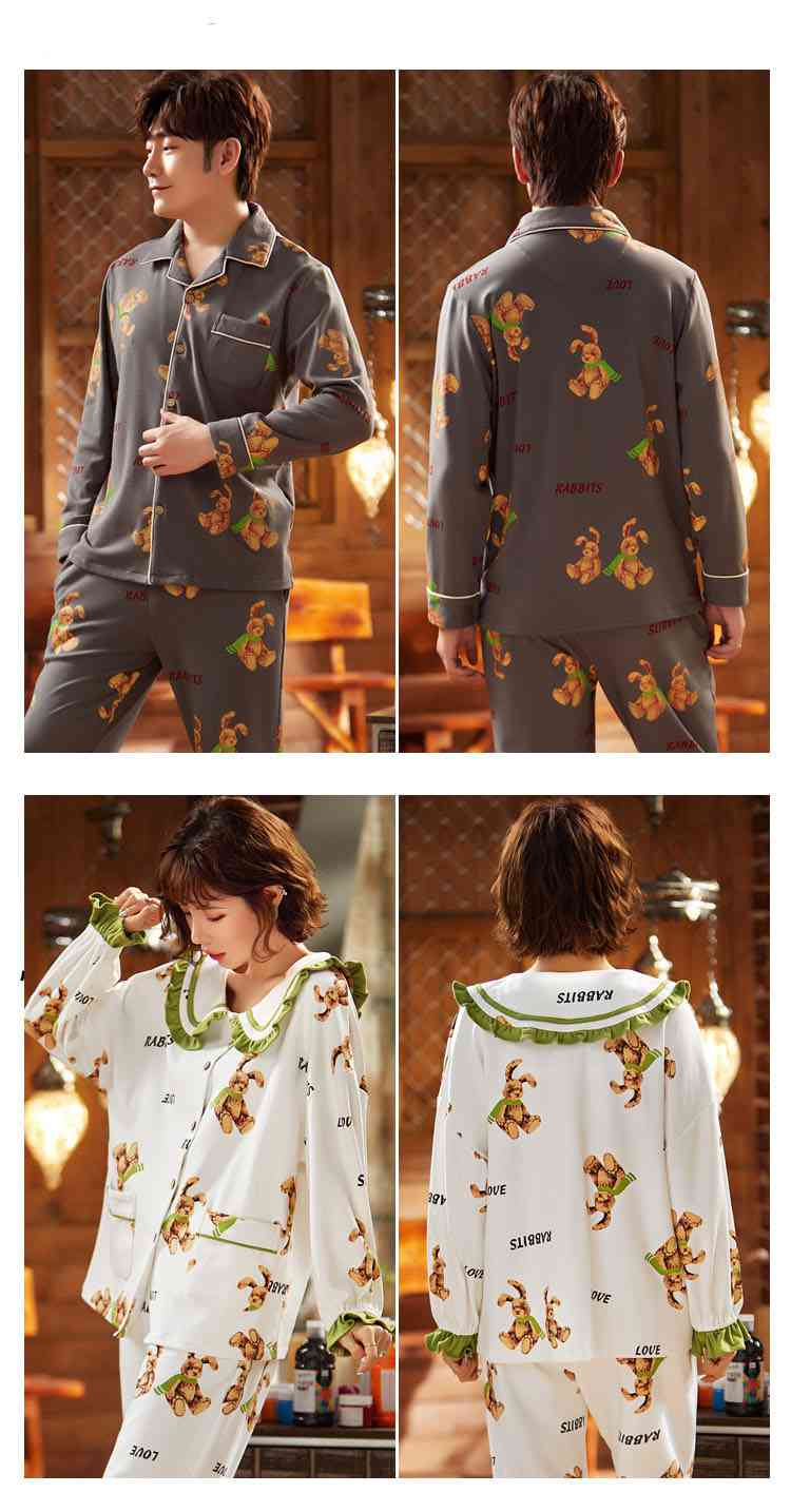 Korean cartoon cute home clothes lapel cardigan sweet mens women pajamas can be worn outside on sale 29