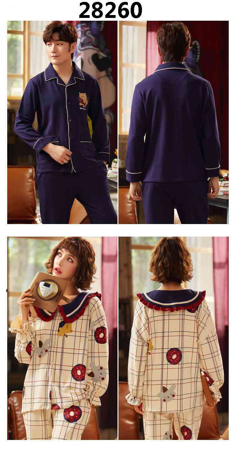 Korean cartoon cute home clothes lapel cardigan sweet mens women pajamas can be worn outside on sale 2