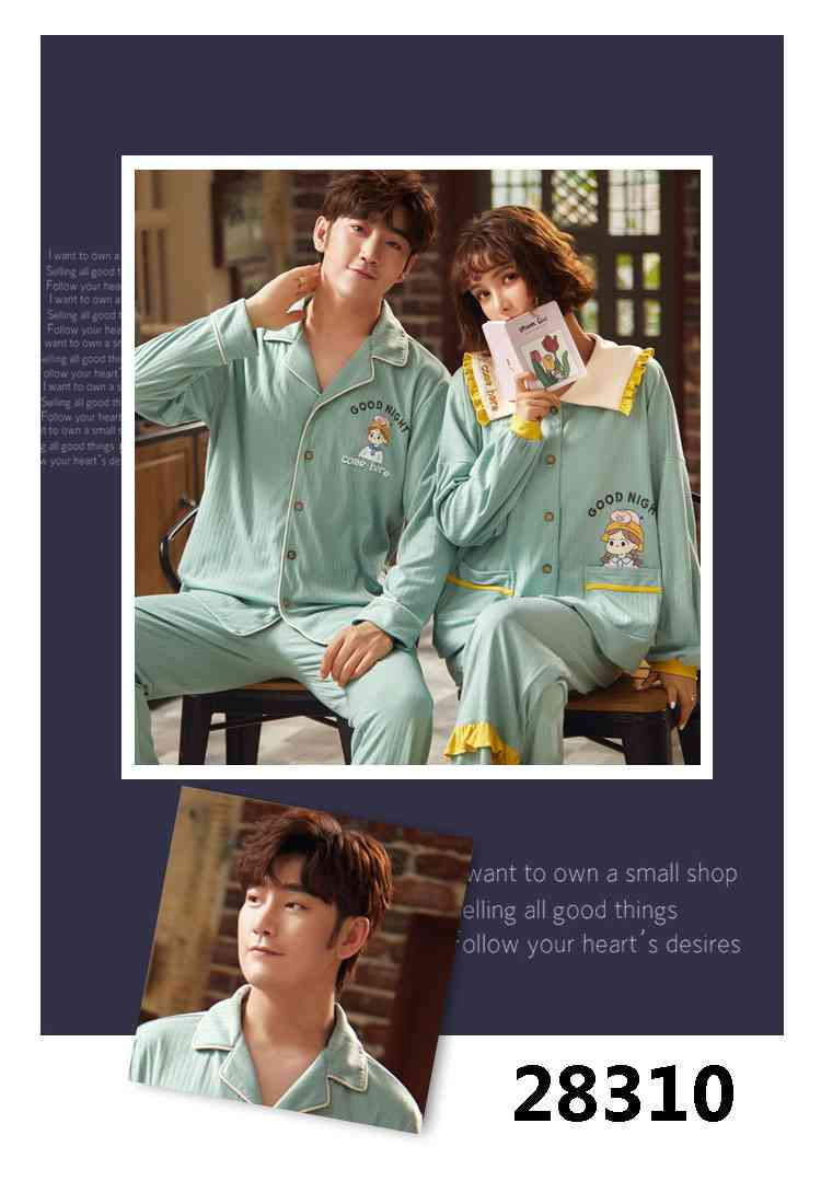 Korean cartoon cute home clothes lapel cardigan sweet mens women pajamas can be worn outside on sale 5