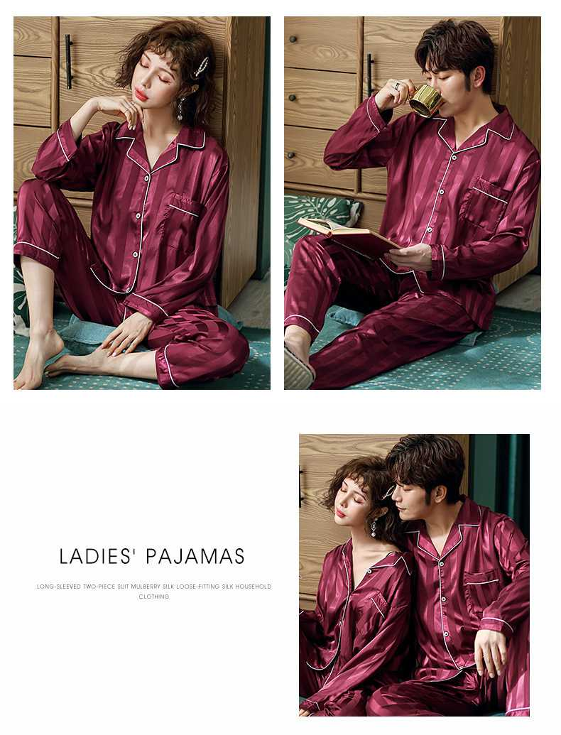 Couple Pajamas Ice Silk sexy thin section long-sleeved home service two-piece suit on sale