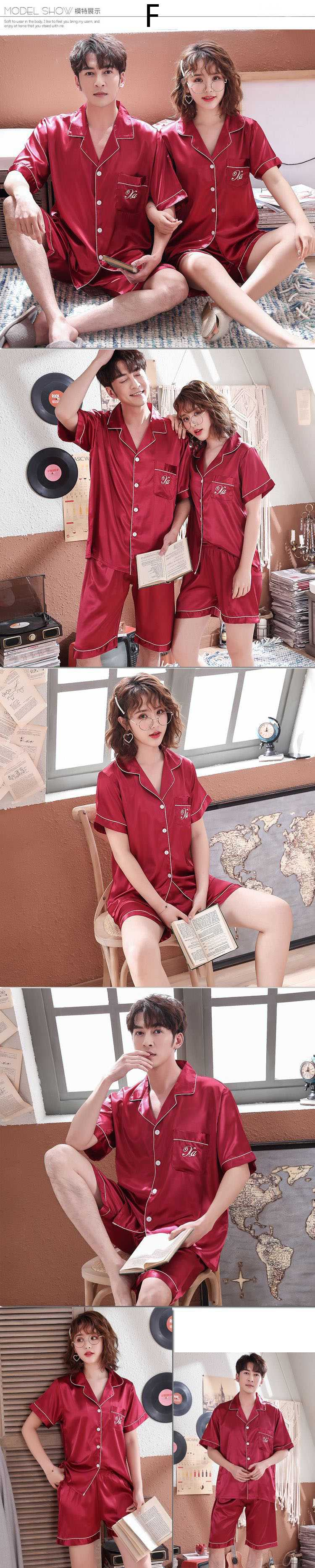 Summer Korean simulation silk couple short sleeve wide loose shirt V-neck pajamas suit on sale 8