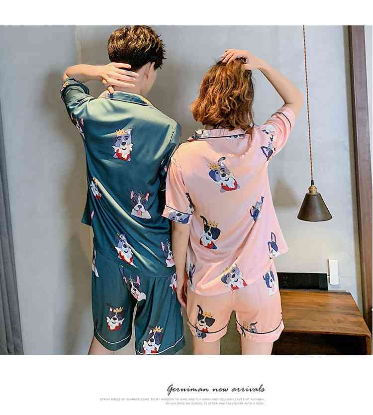 Ins Short-sleeved Ice Silk Two-piece Cartoon Print Thin Couple Pajamas Home Service on sale 7
