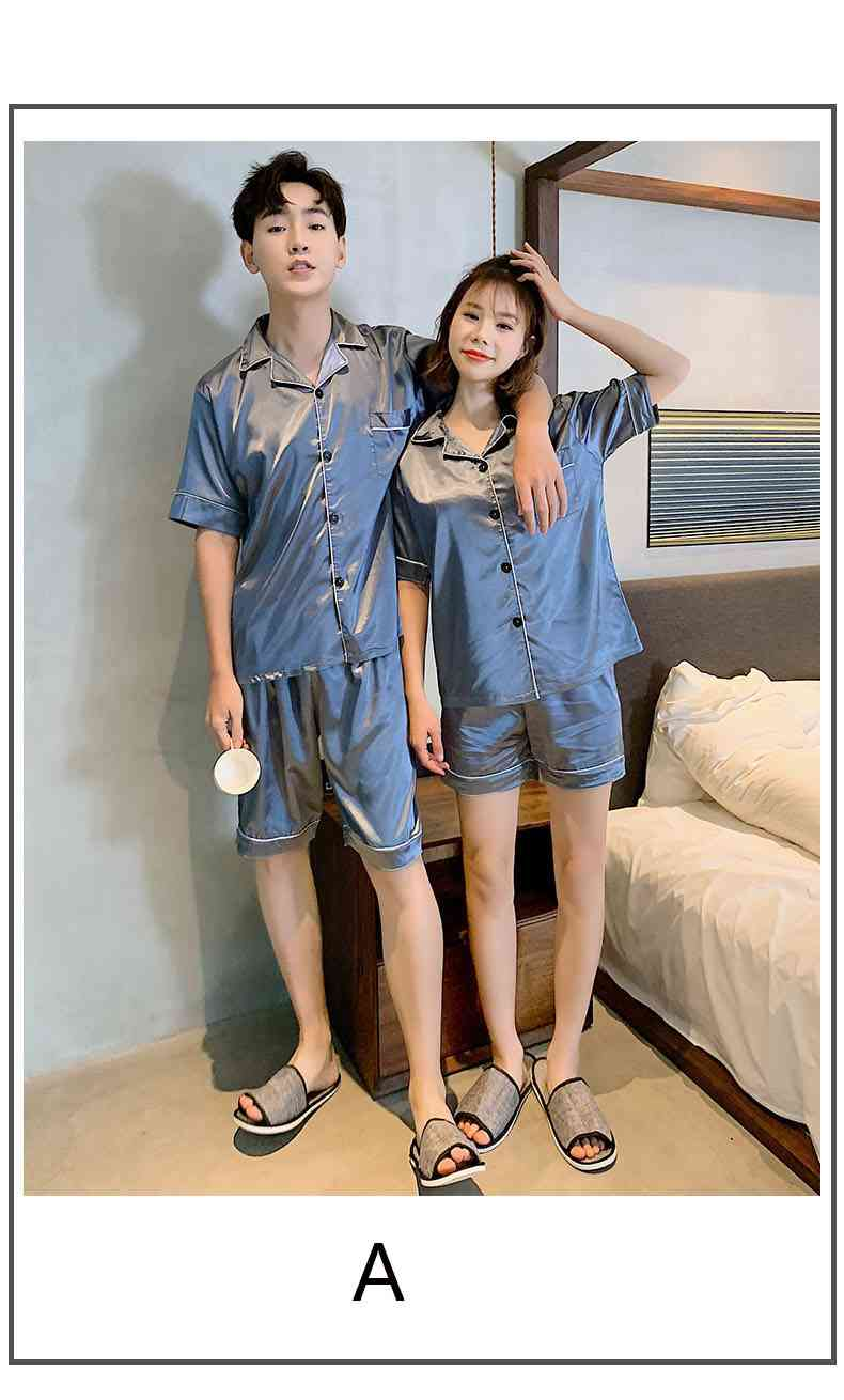 Ins Short-sleeved Ice Silk Two-piece Cartoon Print Thin Couple Pajamas Home Service on sale 8