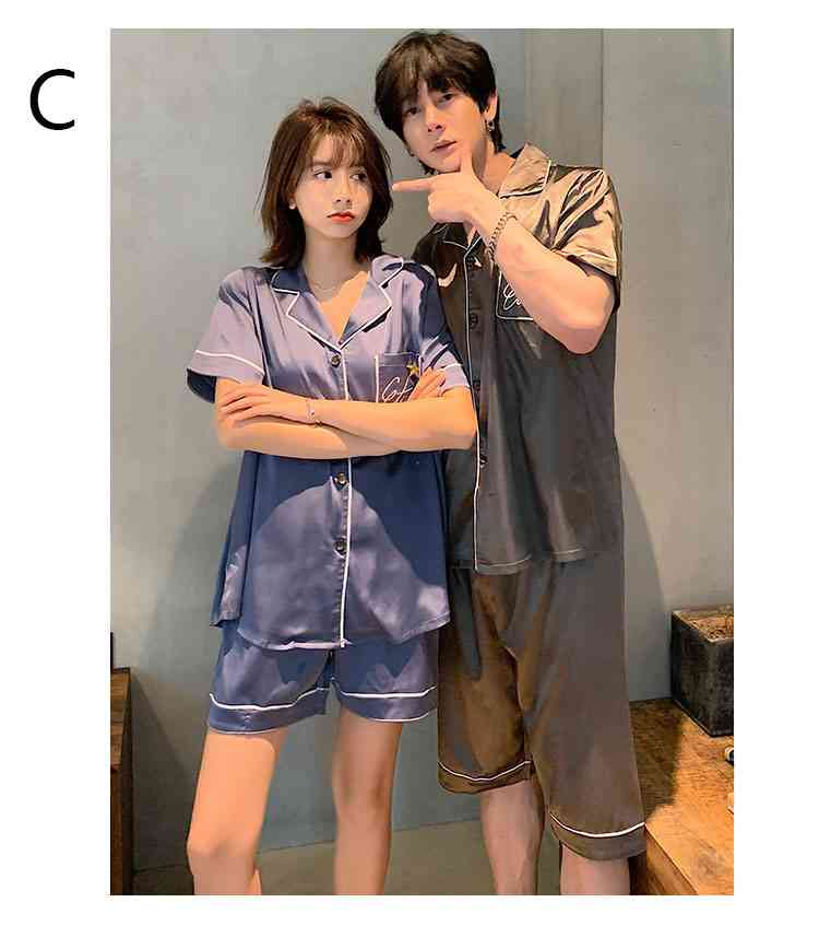 Ins Short-sleeved Ice Silk Two-piece Cartoon Print Thin Couple Pajamas Home Service on sale 11