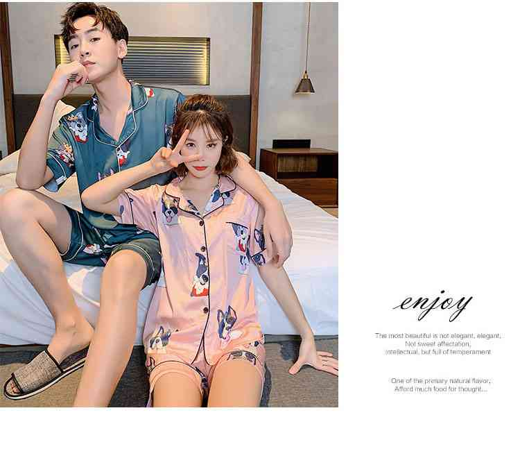 Ins Short-sleeved Ice Silk Two-piece Cartoon Print Thin Couple Pajamas Home Service on sale 13