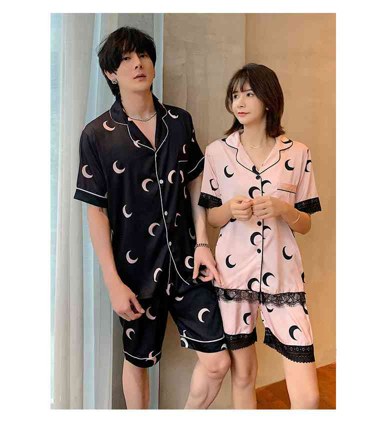 Ins Short-sleeved Ice Silk Two-piece Cartoon Print Thin Couple Pajamas Home Service on sale 14