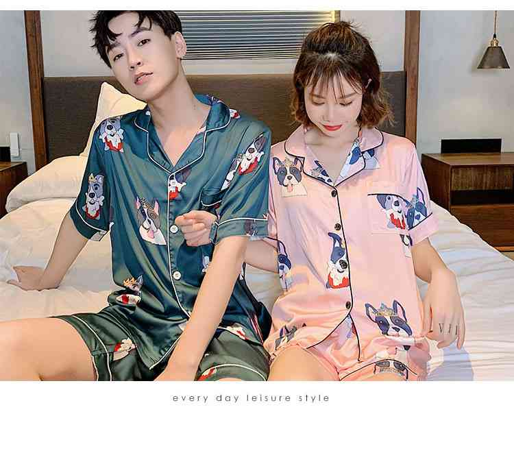 Ins Short-sleeved Ice Silk Two-piece Cartoon Print Thin Couple Pajamas Home Service on sale 15