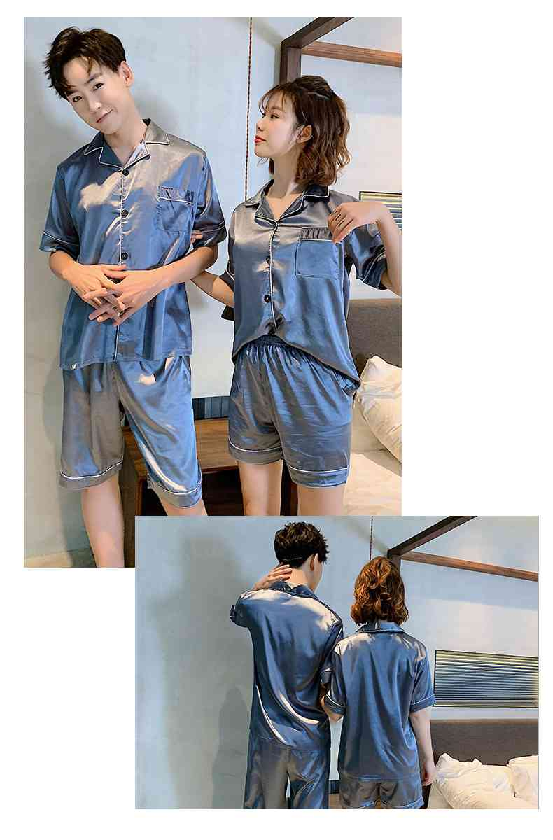 Ins Short-sleeved Ice Silk Two-piece Cartoon Print Thin Couple Pajamas Home Service on sale 1