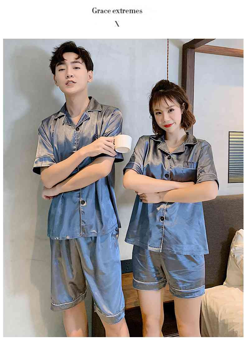 Ins Short-sleeved Ice Silk Two-piece Cartoon Print Thin Couple Pajamas Home Service on sale 3