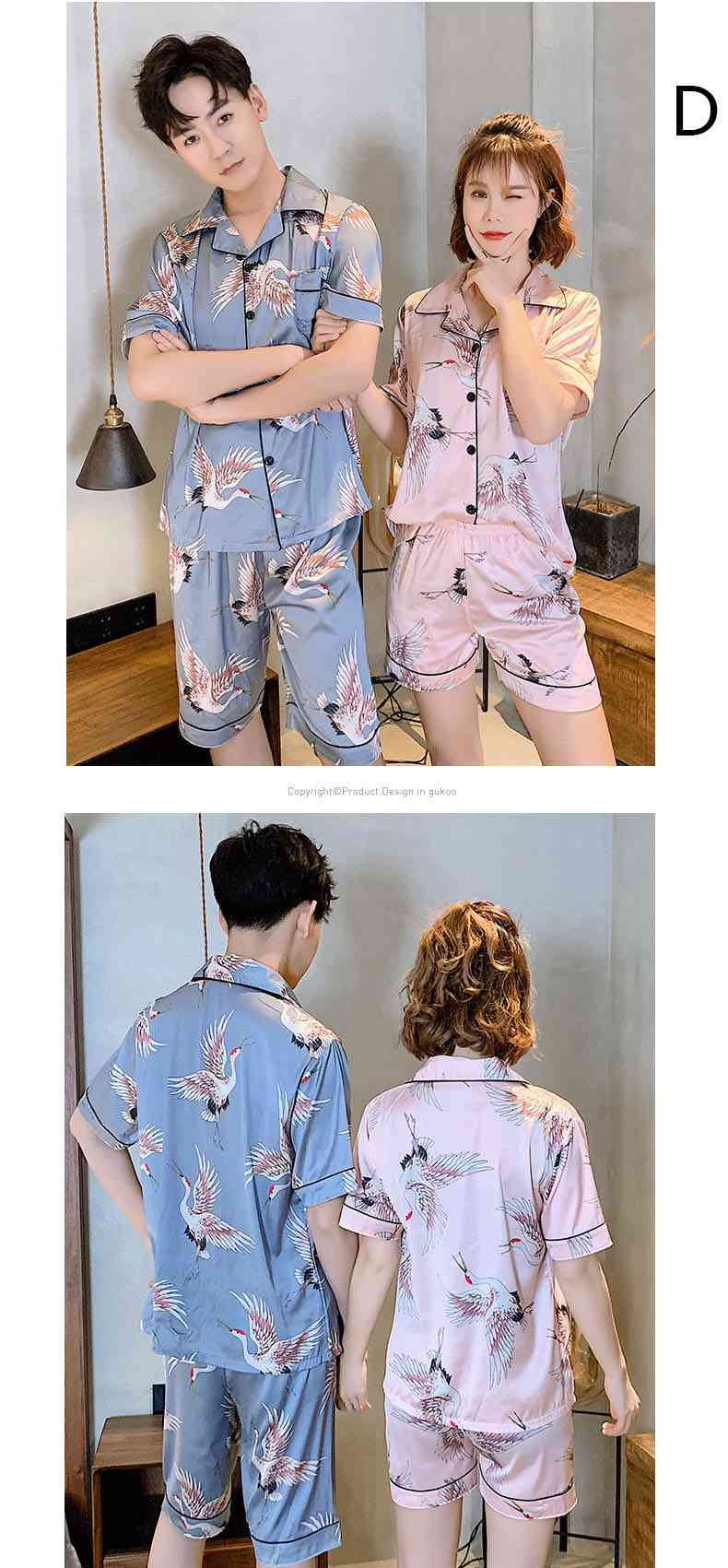 Ins Short-sleeved Ice Silk Two-piece Cartoon Print Thin Couple Pajamas Home Service on sale 4