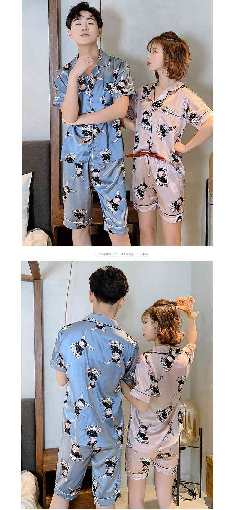 Ins Short-sleeved Ice Silk Two-piece Cartoon Print Thin Couple Pajamas Home Service on sale 5