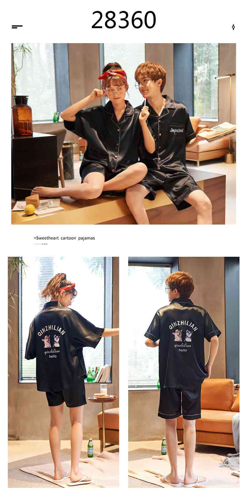 Summer Thin Section Ice Silk Cartoon Net Red Wind Couple Pajamas Home Service Suit on sale 8