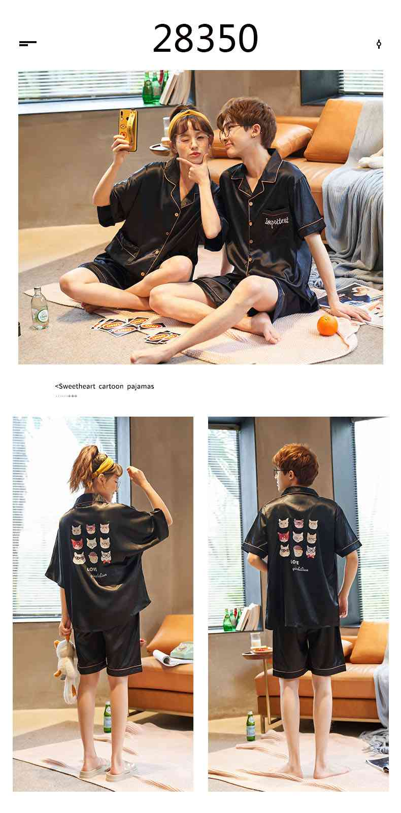 Summer Thin Section Ice Silk Cartoon Net Red Wind Couple Pajamas Home Service Suit on sale 9