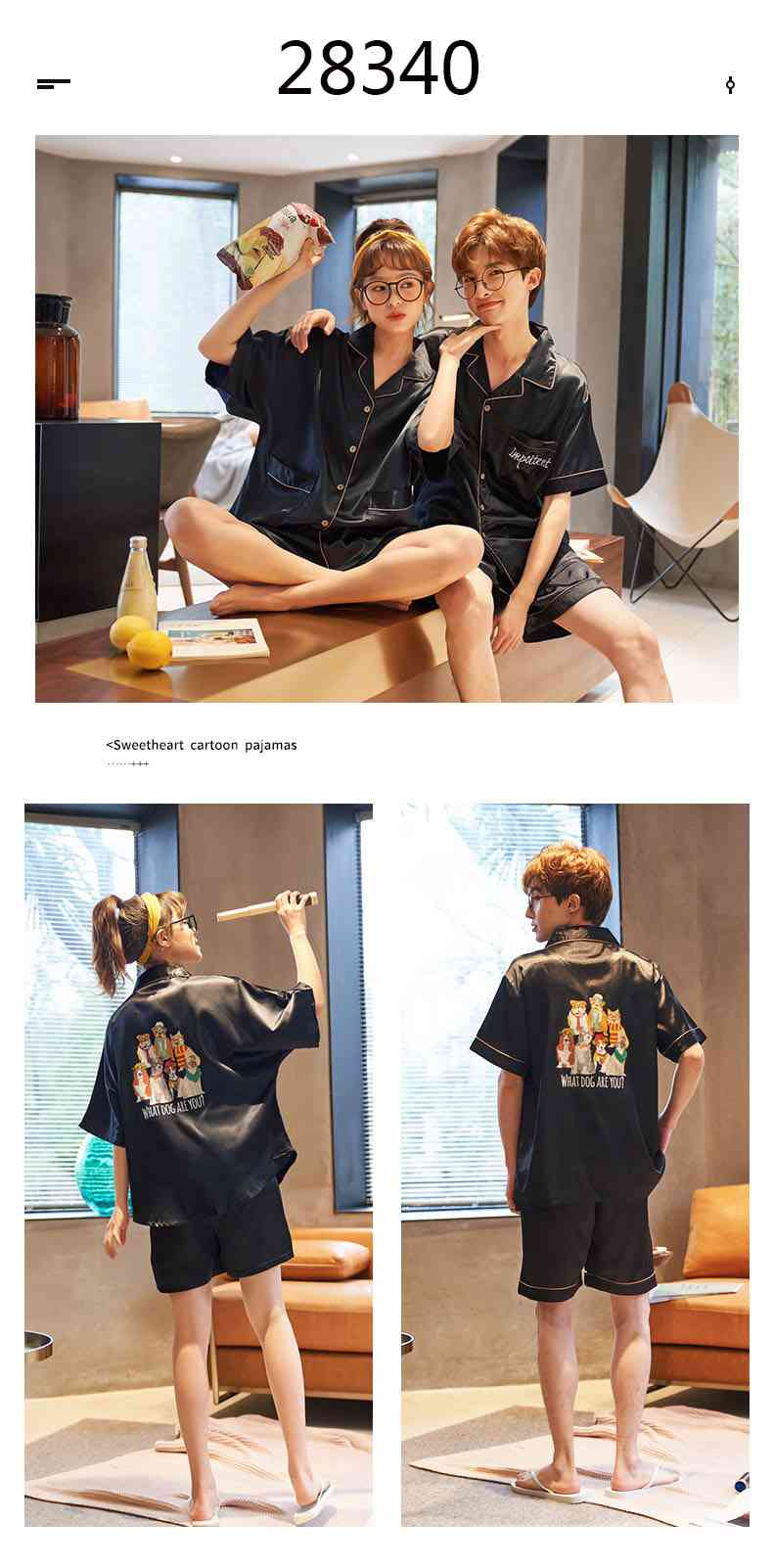 Summer Thin Section Ice Silk Cartoon Net Red Wind Couple Pajamas Home Service Suit on sale 10