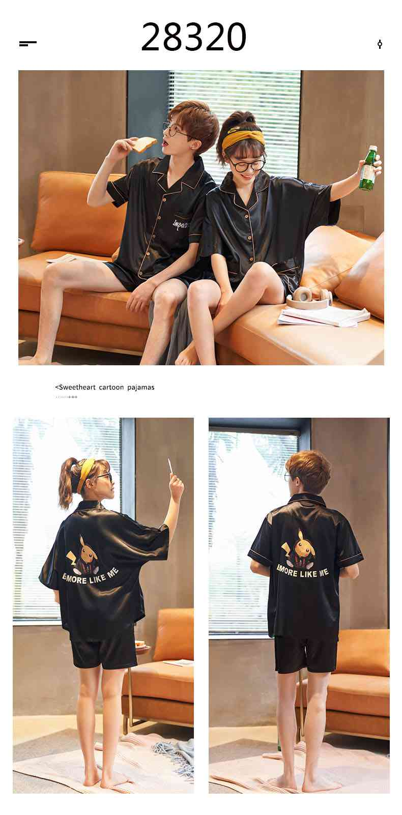 Summer Thin Section Ice Silk Cartoon Net Red Wind Couple Pajamas Home Service Suit on sale 12