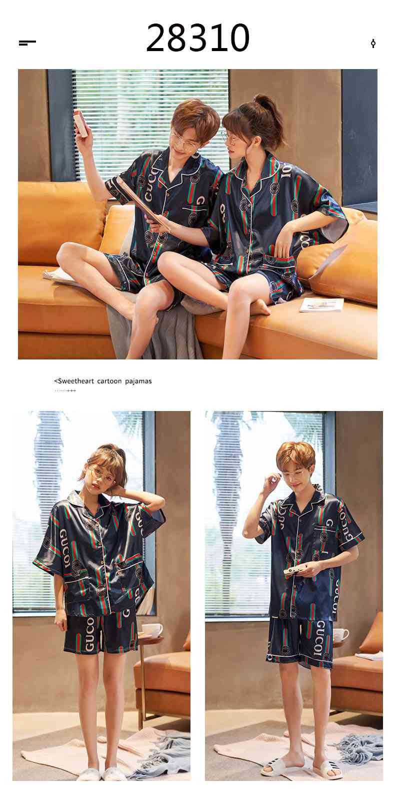 Summer Thin Section Ice Silk Cartoon Net Red Wind Couple Pajamas Home Service Suit on sale 13