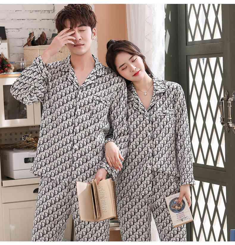 Ice silk couple printed letter long-sleeved two-piece satin chiffon men and women Pajamas on sale