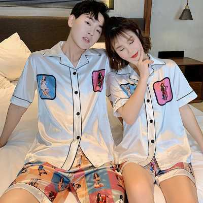Couple ice silk short-sleeved thin section enlarged code home service pajamas suit on sale 1