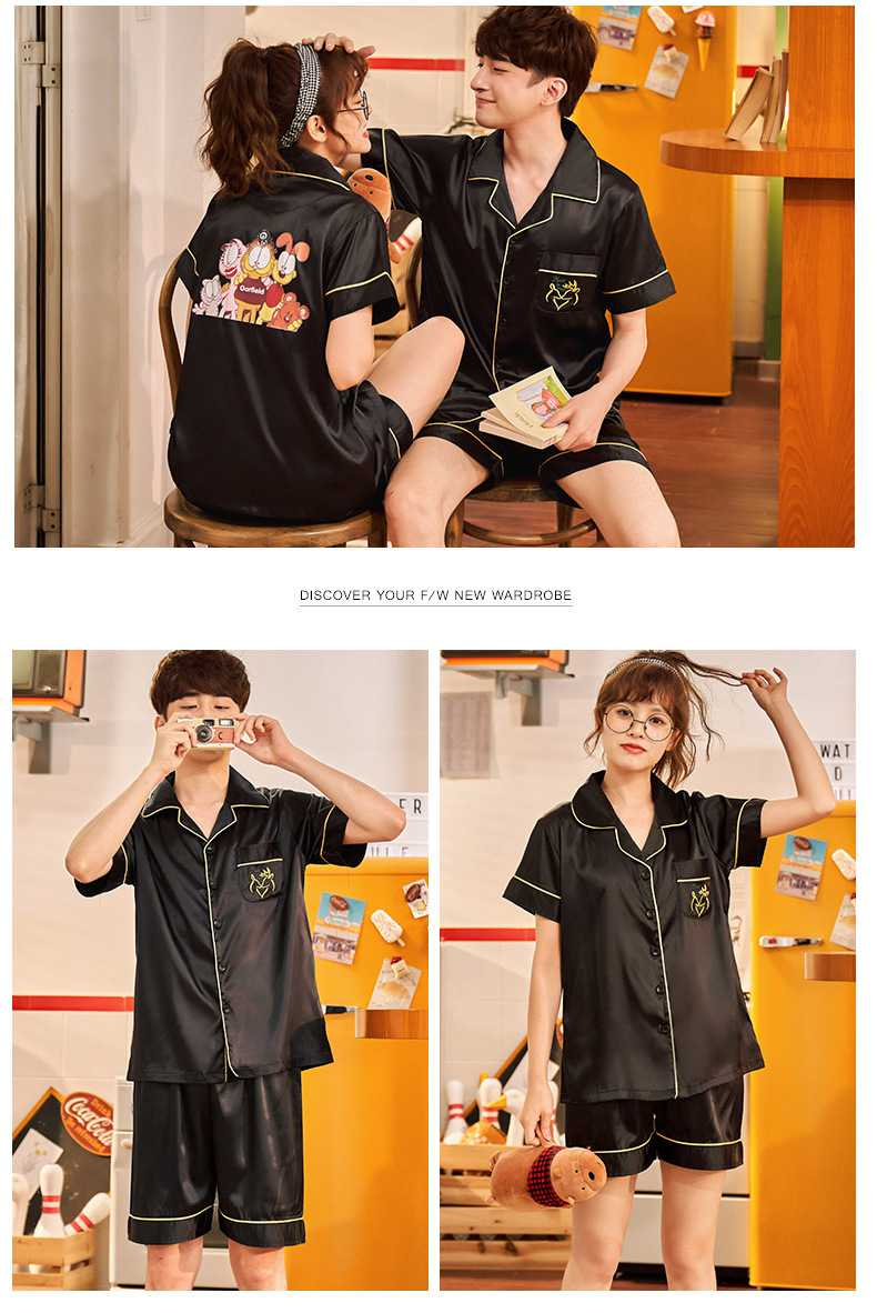 Couple ice silk short-sleeved thin section enlarged code home service pajamas suit on sale 2