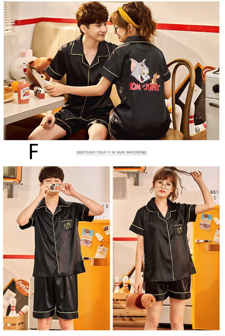 Couple ice silk short-sleeved thin section enlarged code home service pajamas suit on sale 4