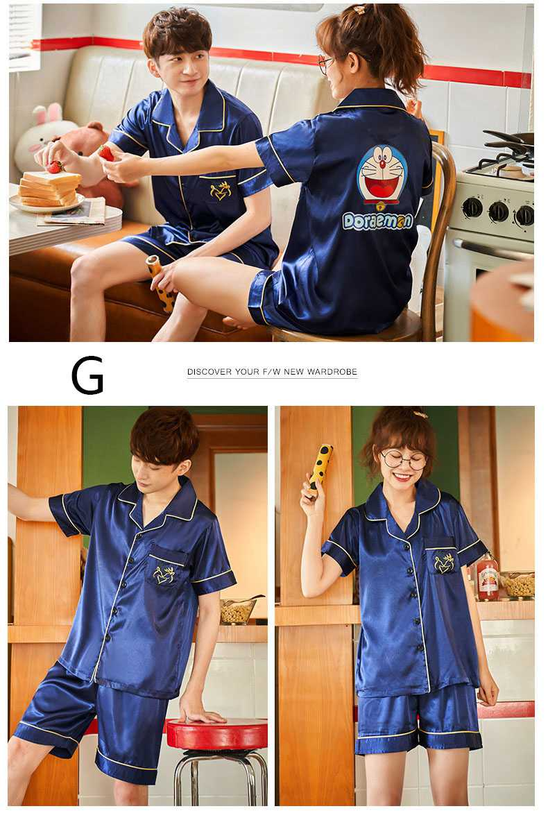 Couple ice silk short-sleeved thin section enlarged code home service pajamas suit on sale 5