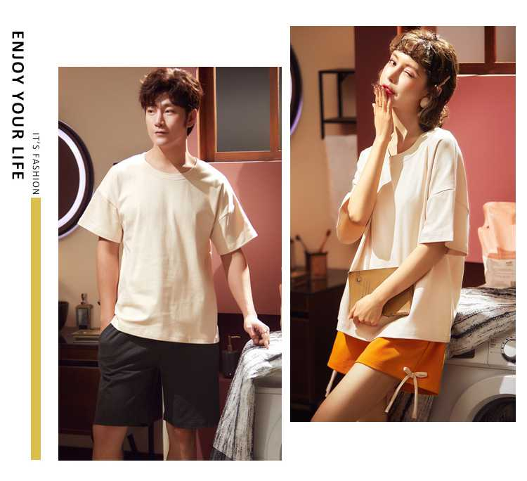 summer short-sleeved cotton thin large size loose men and women two-piece suit home service on sale 4