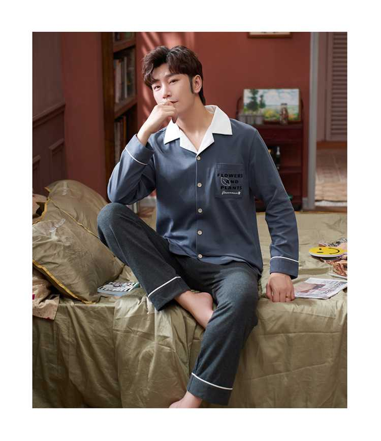 Korean couple long-sleeved trousers sweet and cute doll lapel cotton home service suit on sale 8
