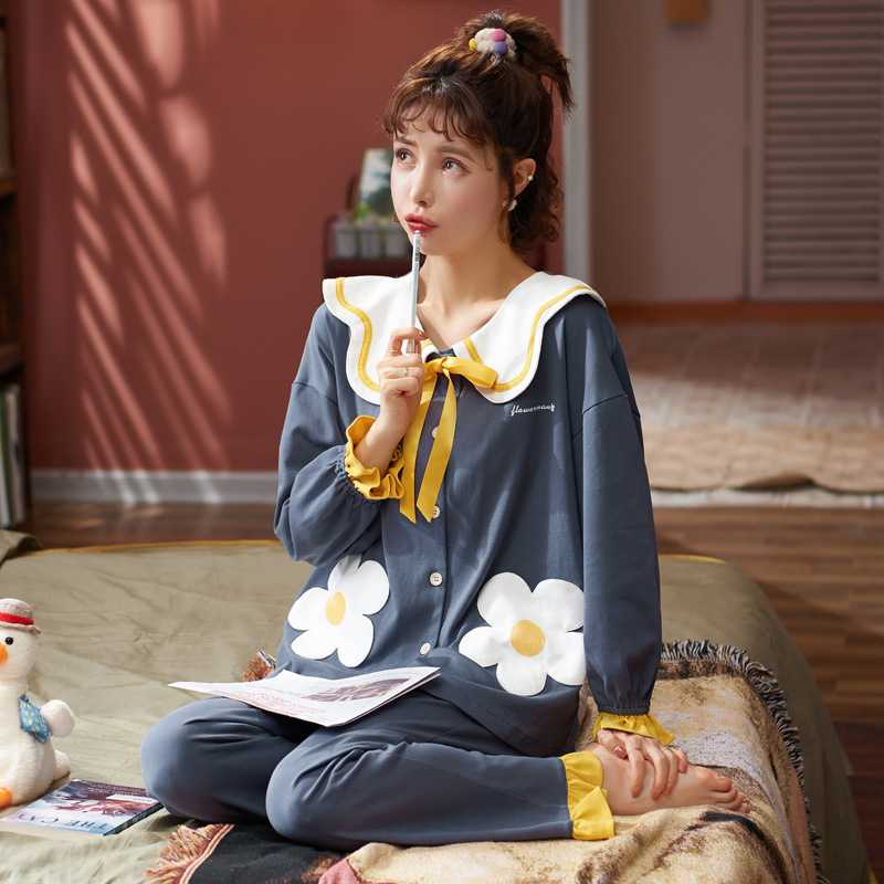 Korean couple long-sleeved trousers sweet and cute doll lapel cotton home service suit on sale 10