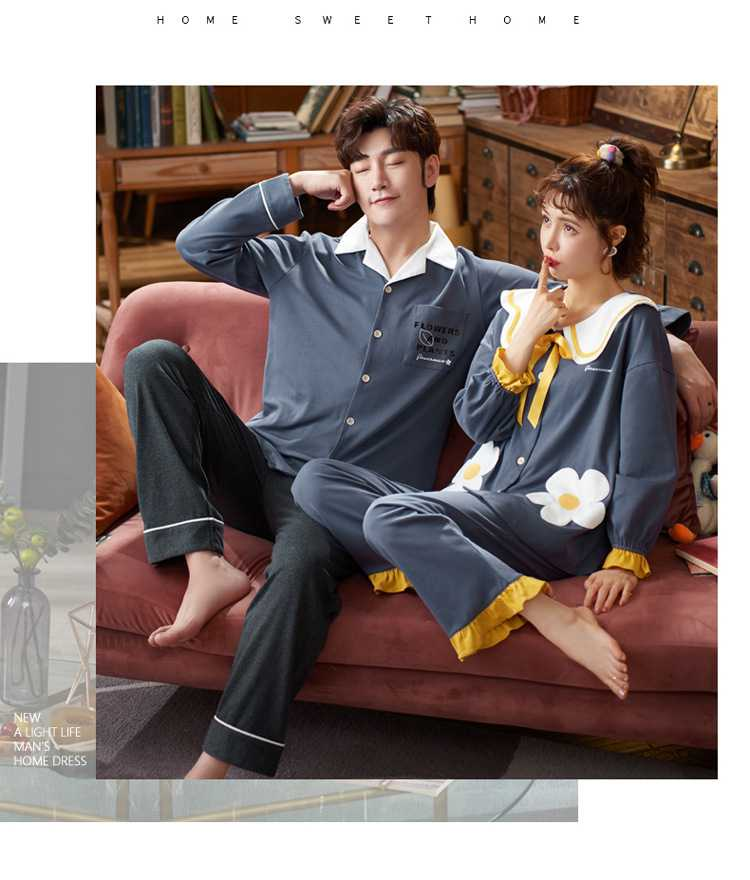 Korean couple long-sleeved trousers sweet and cute doll lapel cotton home service suit on sale 1