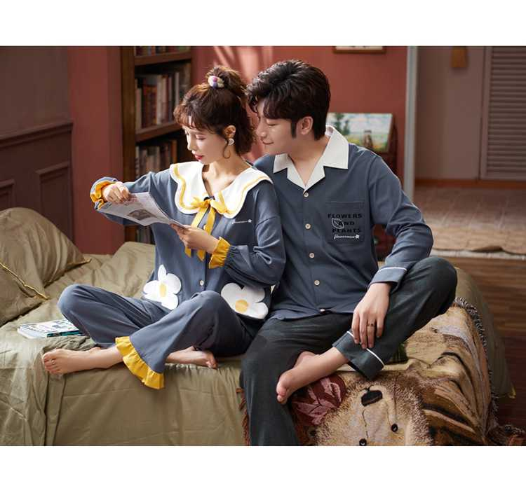 Korean couple long-sleeved trousers sweet and cute doll lapel cotton home service suit on sale 3