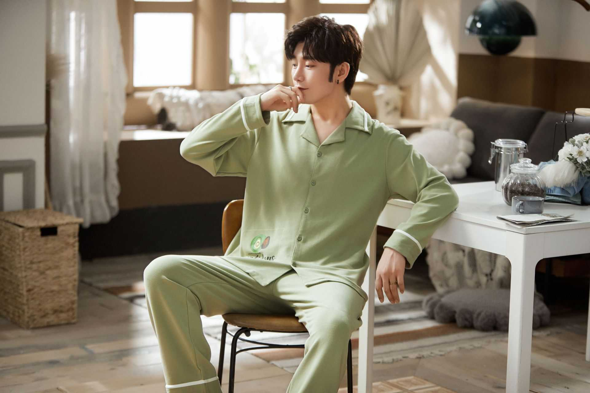 new style Korean cardigan models cotton long-sleeved casual men's and women's Pajamas on sale 6