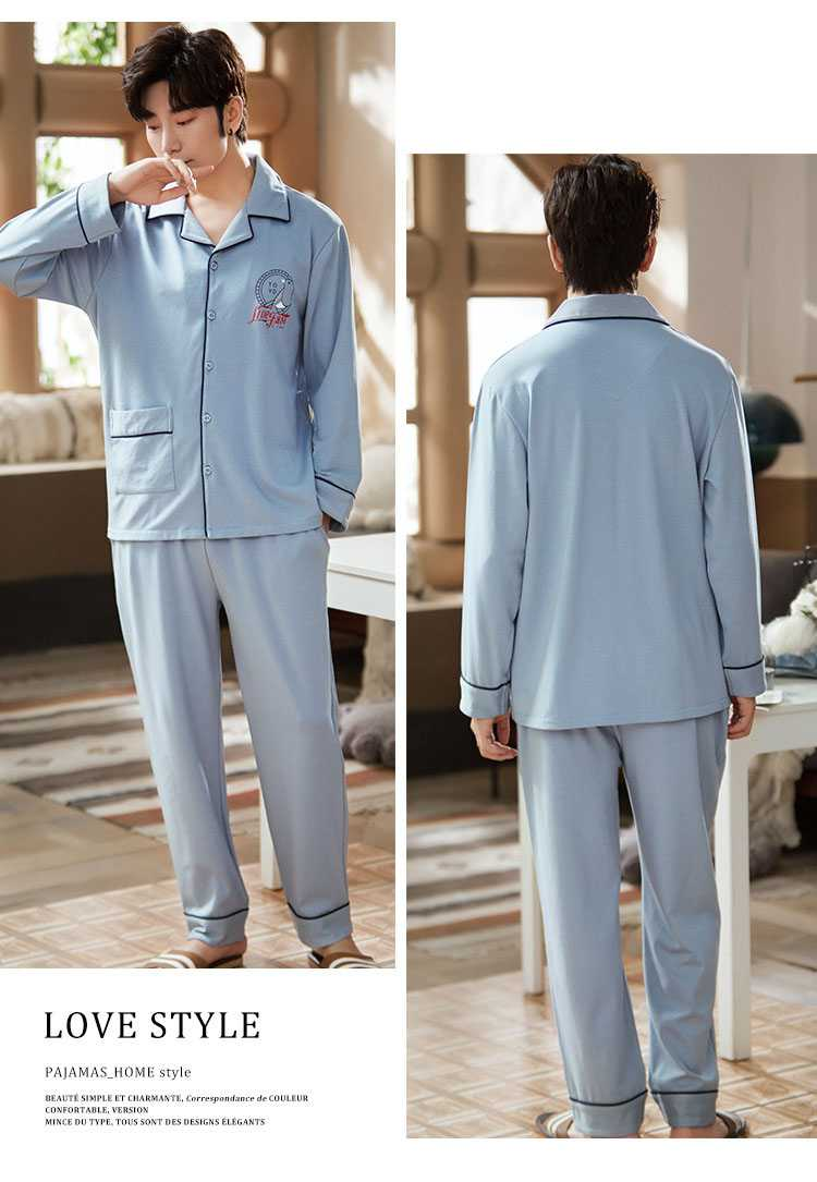 new style Korean cardigan models cotton long-sleeved casual men's and women's Pajamas on sale 12