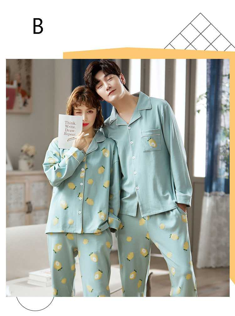 new style Korean cardigan models cotton long-sleeved casual men's and women's Pajamas on sale 14