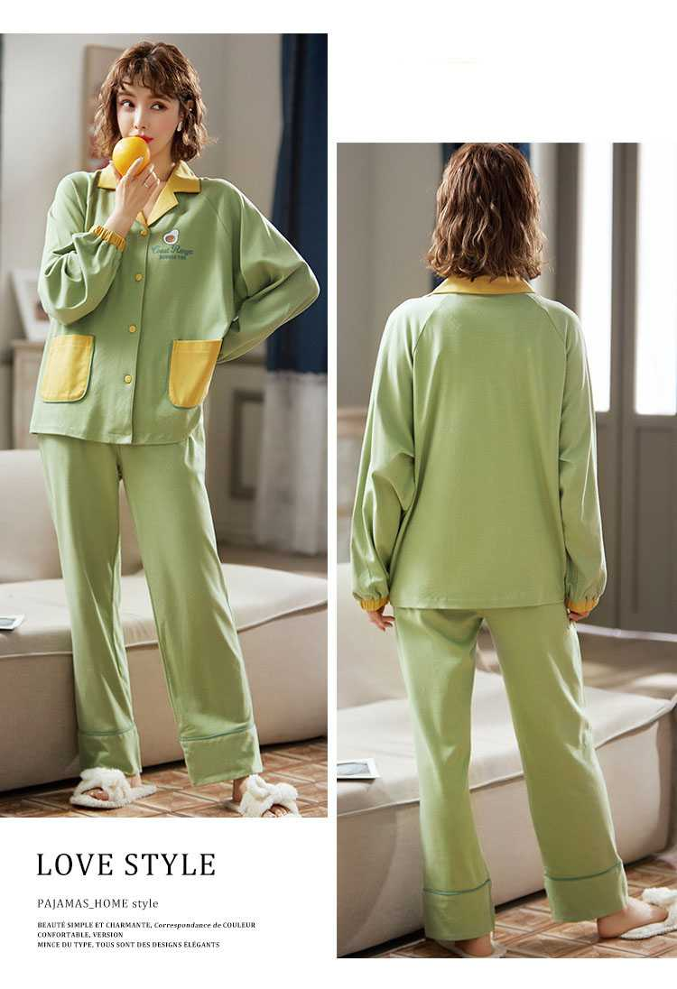 new style Korean cardigan models cotton long-sleeved casual men's and women's Pajamas on sale 4