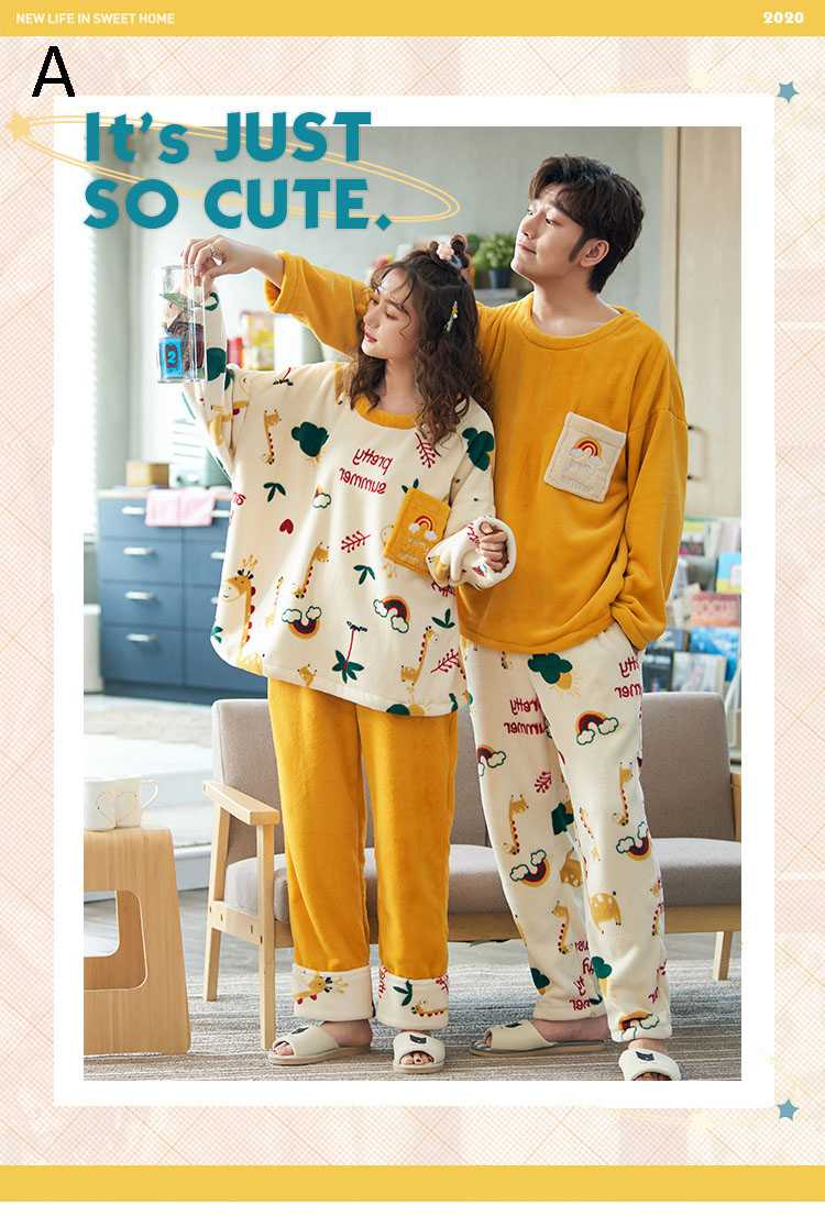 Winter creative flannel men and women pullover round neck long sleeve couple pajamas suit on sale 9