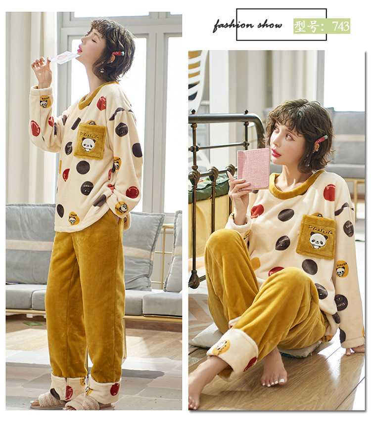 Winter creative flannel men and women pullover round neck long sleeve couple pajamas suit on sale 2