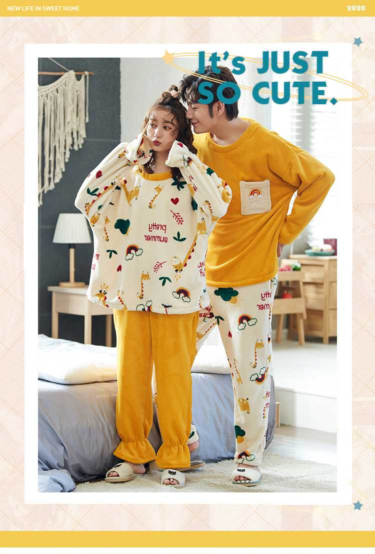 Winter creative flannel men and women pullover round neck long sleeve couple pajamas suit on sale 3