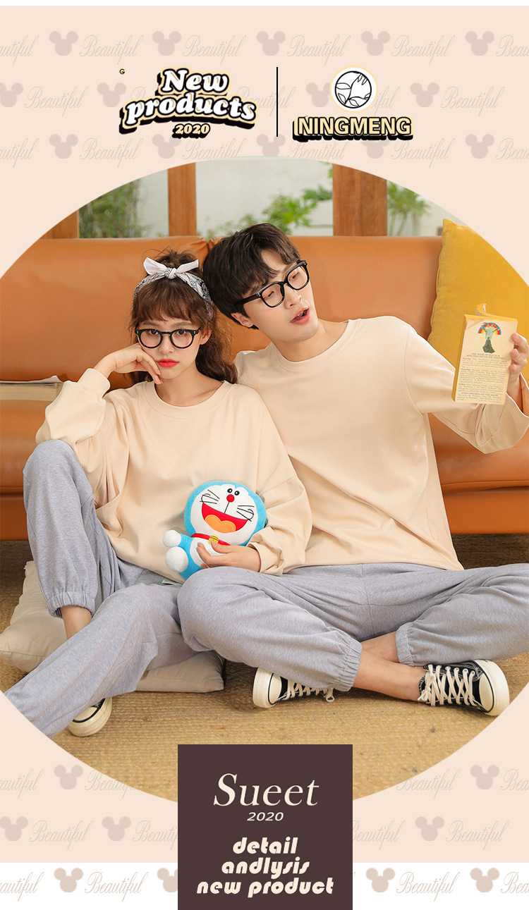 Winter trend new couple gray long-sleeved trousers home pajamas on sale 8