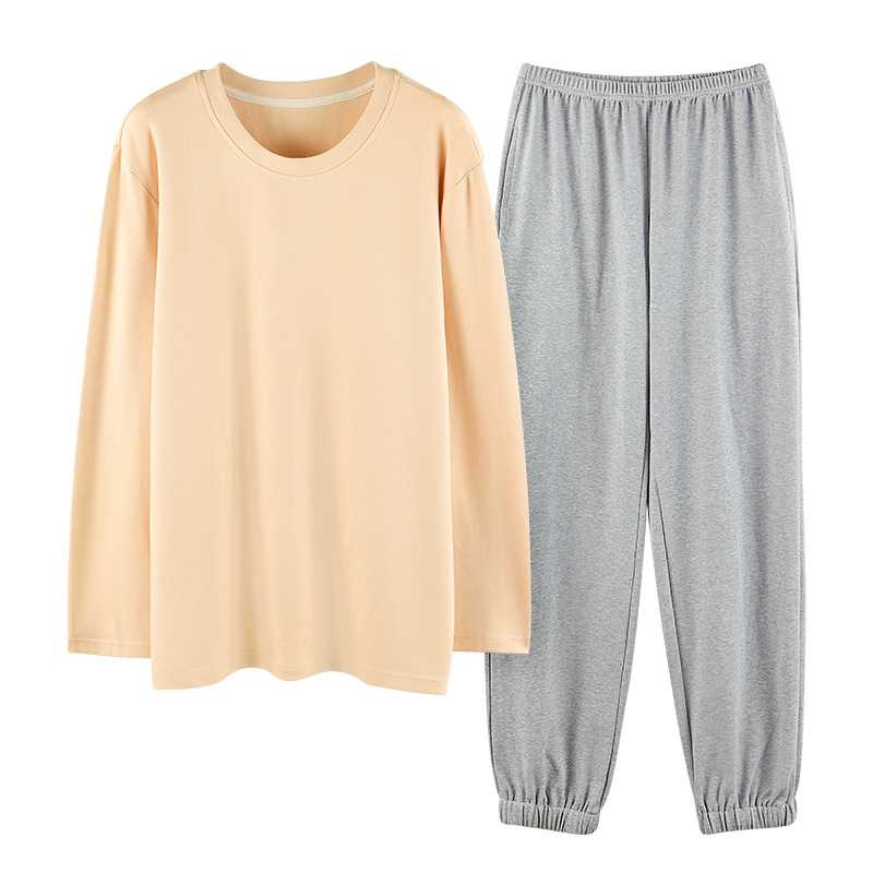 Winter trend new couple gray long-sleeved trousers home pajamas on sale 2