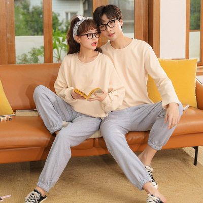 Winter trend new couple gray long-sleeved trousers home pajamas on sale 3