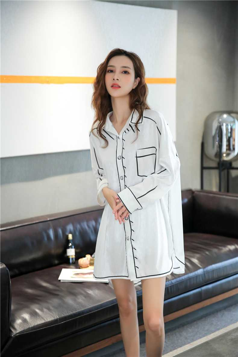 Spring new thin loose ice silk long-sleeved couple shirt nightdress on sale 6