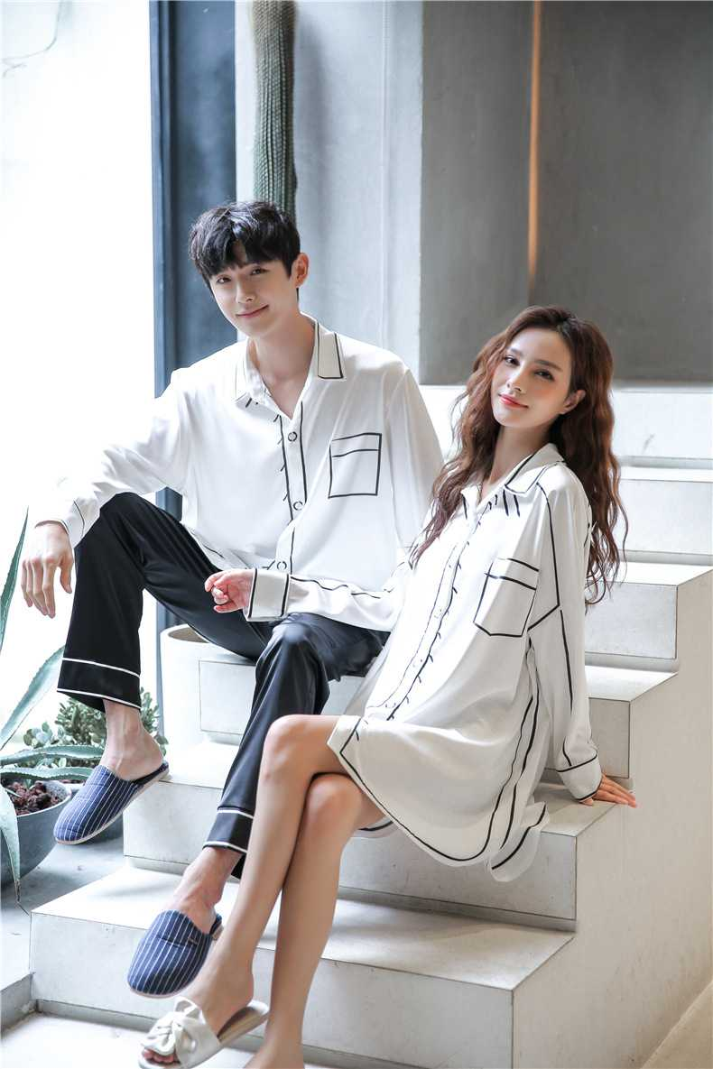 Spring new thin loose ice silk long-sleeved couple shirt nightdress on sale 7