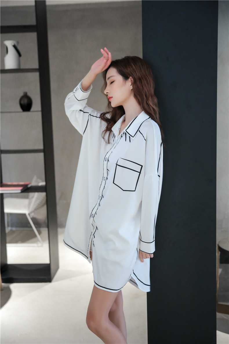 Spring new thin loose ice silk long-sleeved couple shirt nightdress on sale 10