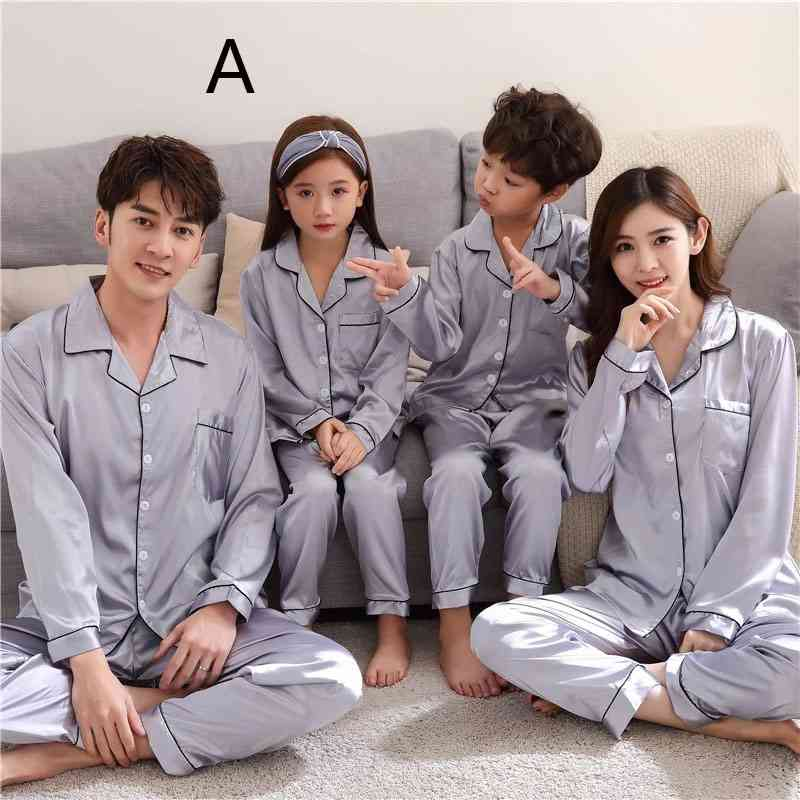 Silk Mother and Daughter Family of Three Outfit Ice Silk Parent-child Pajamas on sale 7