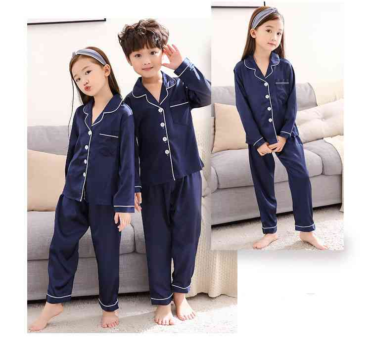 Silk Mother and Daughter Family of Three Outfit Ice Silk Parent-child Pajamas on sale 12